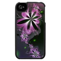 Pink Flower Swirls Abstract Fractal Elegant iPhone 4 Case from Zazzle.com