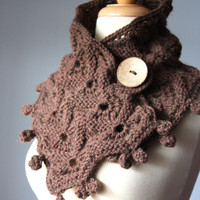 Knit scarf chunky Brown Chestnut mink coconut by VitalTemptation