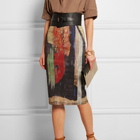 Donna Karan | Printed linen-blend pencil skirt | NET-A-PORTER.COM