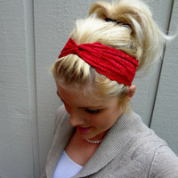 Classic red twist stretch lace headband feminine/romantic/classic