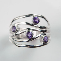 Amethyst Ring - Purple Wave Gemstone Ring - Amethyst Birthstone - Unique Artisan Gemstone Jewelry - Sterling Silver Ripple Ring