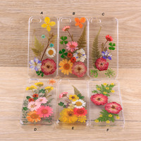 Rose Daisy Pressed flowers iPhone case and Galaxy case 024