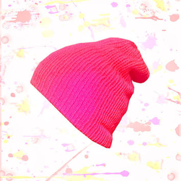 Neon Pink Beanie - knit, semi slouchy, snug fit - double layered - Womens, teens, mens accessories - available in additional colors