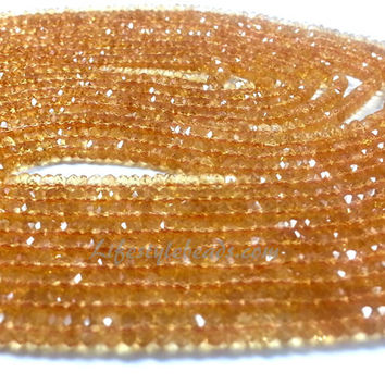 """3.5 mm, 14"""" AAA Citrine Faceted Beads"""
