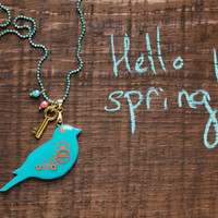 Spring toxic bird necklace - Bird pendant - Colorful jewelry - Animal - Spring jewelry - Watch parts jewelry