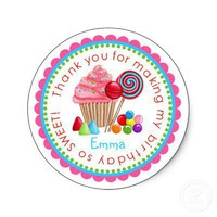 Sweet Candy Land Cupcake Lollipop Stickers from Zazzle.com