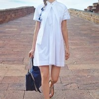 Button-Pleat Shirtdress by Anthropologie White