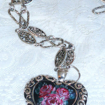 Heart Necklace Brighton Style Hand Paint Rose Large Heart Pendant Statement Necklace