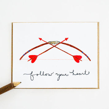 Follow Your Heart card bow arrow love