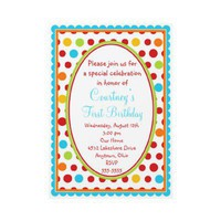 Pretty Little Polka Dots 1st Birthday Invitations from Zazzle.com