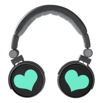 Mint Hearts on Black - DJ Style Headphones