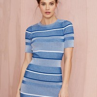 Nasty Gal All Blues Ribbed Sweater Dress