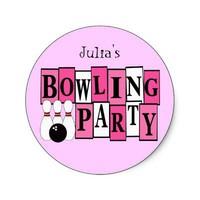KRW Custom Bowling Birthday Party Sticker from Zazzle.com