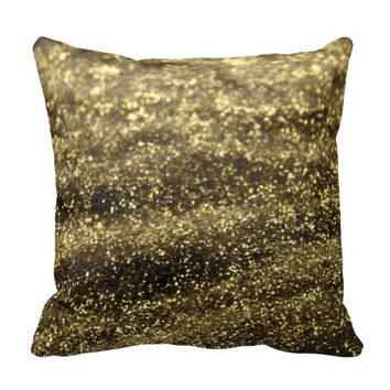 Glitter golden throw pillow