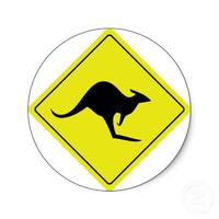 australian roadsign kangaroo australia round sticker from Zazzle.com