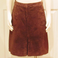 Suede Skirt Brown Skirt Leather Skirt 60s Skirt 70s Bohemian Skirt Hippie Skirt Vintage Clothing Vintage Skirt Lilly Pulitzer Size 8 Skirt