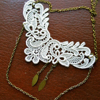 White Lace Necklace - Double Strand Asymmetrical with Brass Accents