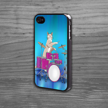 Iphone 6 case cat playing drums iphone 5 and iphone 4 cases