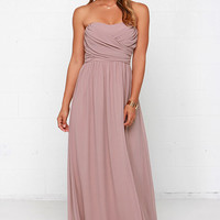 Royal Engagement Strapless Taupe Maxi Dress