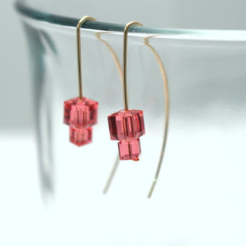 Swarovski Cube Earrings- 14K Gold Filled-Hand Forged
