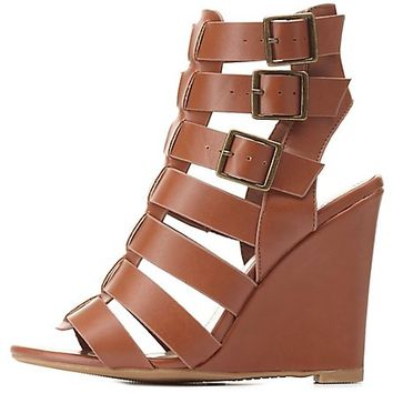 Bamboo Buckled Gladiator Wedges by Charlotte Russe - Chestnut