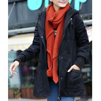 Wholesale Long Edition Thicken Stylish Hooded All-Match Long Sleeve Women's Coat (BLACK,L), Jackets & Coats - Rosewholesale.com