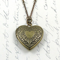 Heart Locket Necklace Engraved Locket Victorian Locket Keepsake Necklace Photo Locket Rhinestone Chain Shabby Chic - Esabella