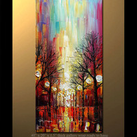 "40"" ORIGINAL Oil Painting Modern Fine Art Palette Knife Oil Abstract  Landscape  by P. Nizamas"