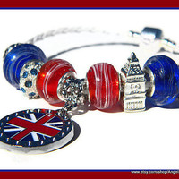 Union Jack Murano Glass Beads European Charm Bracelet