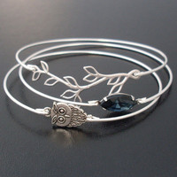 Midnight Owl Bangle Bracelet Set, Silver, Blue, Unique Jewelry, Owl Jewelry, Woodland Owl, Bracelet Stack, Nature Jewelry, Nature Bangle Set