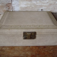 Vintage Womens Jewelry Box Tan or Gray an Gold Inside From 50s or 60s Unique