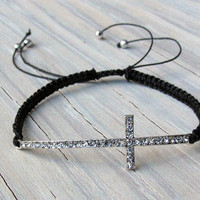 Cross with Rhinestones, Macramed Cross, Gifts for Her, Religious Jewelry, Fall Jewelry, Tweens, Gifts Under 20