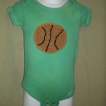 Baby Basketball Onesuit- Long Sleeve Onesuit with Basketball Applique- Baby Sports Onesuit- Newborn Basketball Clothes
