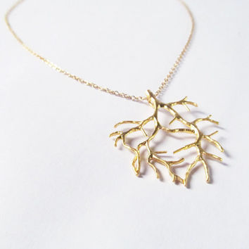 gold coral branch necklace pendant necklace ocean , beach jewelry