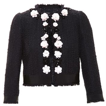 Tweed Jacket with Floral Embellishment - GIAMBATTISTA VALLI