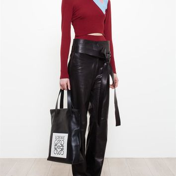 Wool Jumper with Cut-Out and Leather Panel - LOEWE