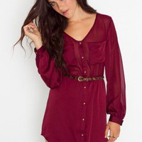 Crimson Shirtdress - NASTY GAL