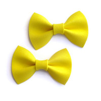 Yellow bow tie hair clips - Set of two