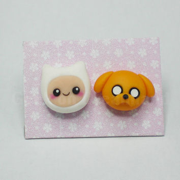 Adventure Time Finn Jake Earrings Studs Kawaii