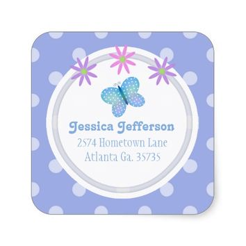 Polkadot Daisies & Butterfly Address Stickers