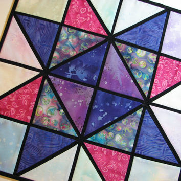 Quilted Stained Glass Wall Hanging--Purple and Pink Batik