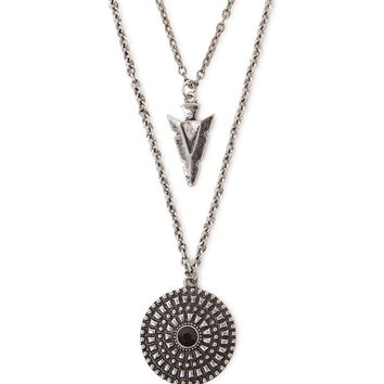 With Love From CA Double Layered Medallion Arrowhead Necklace - Womens Jewelry - Silver - NOSZ