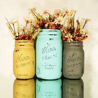 Fall, Thanksgiving, Wedding and Home Decor - Painted Mason Jars - Vase - Autumn Sky