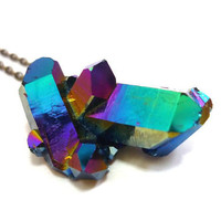 Titanium Quartz Rainbow Aura Crystal Point Cluster Druzy Necklace n.1 by AstralEYE
