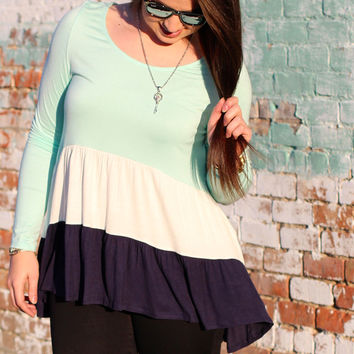 Neapolitan Ruffles Top {Mint}
