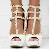 Spring Stroll White Studded Peep Toe Strappy Heels