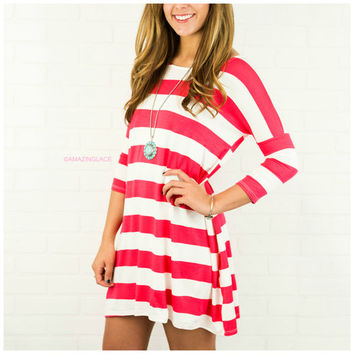 The Way It Goes Hot Pink Striped Quarter Sleeve Dress