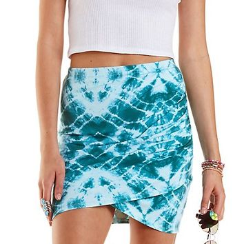 Tie-Dye Ruched Mini Skirt by Charlotte Russe - Pale Mint Combo