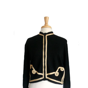 Vintage 1950s Sweater Cardigan Zip Up Black and Ivory Corded Design - Cropped Length - 3/4 Sleeves