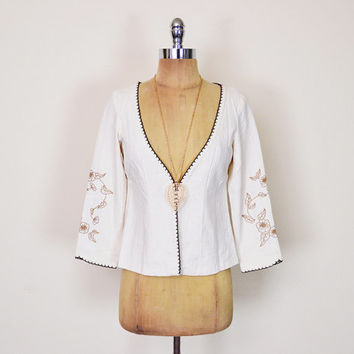 Vintage 70s Ivory Mexican Jacket Mexican Shirt Mexican Top Mexican Blouse Mexican Tunic Mexican Embroider 70s Hippie Top Boho Top S Small